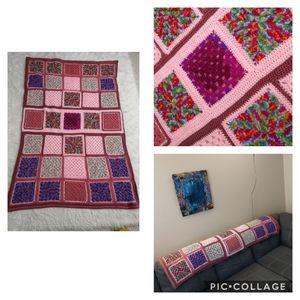 Pink Crochet Granny Square Handmade Blanket Throw